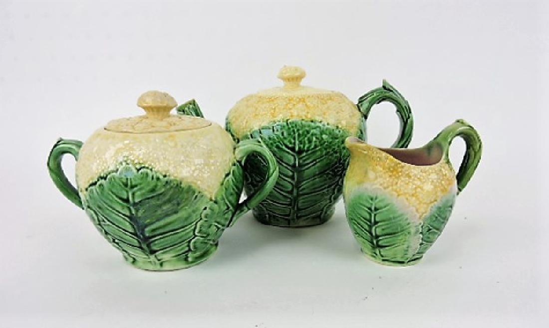 Etruscan majolica cauliflower tea set, various
