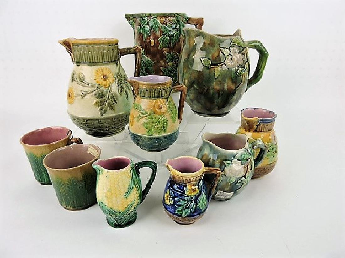 Etruscan majolica lot of 10 pitchers and mugs