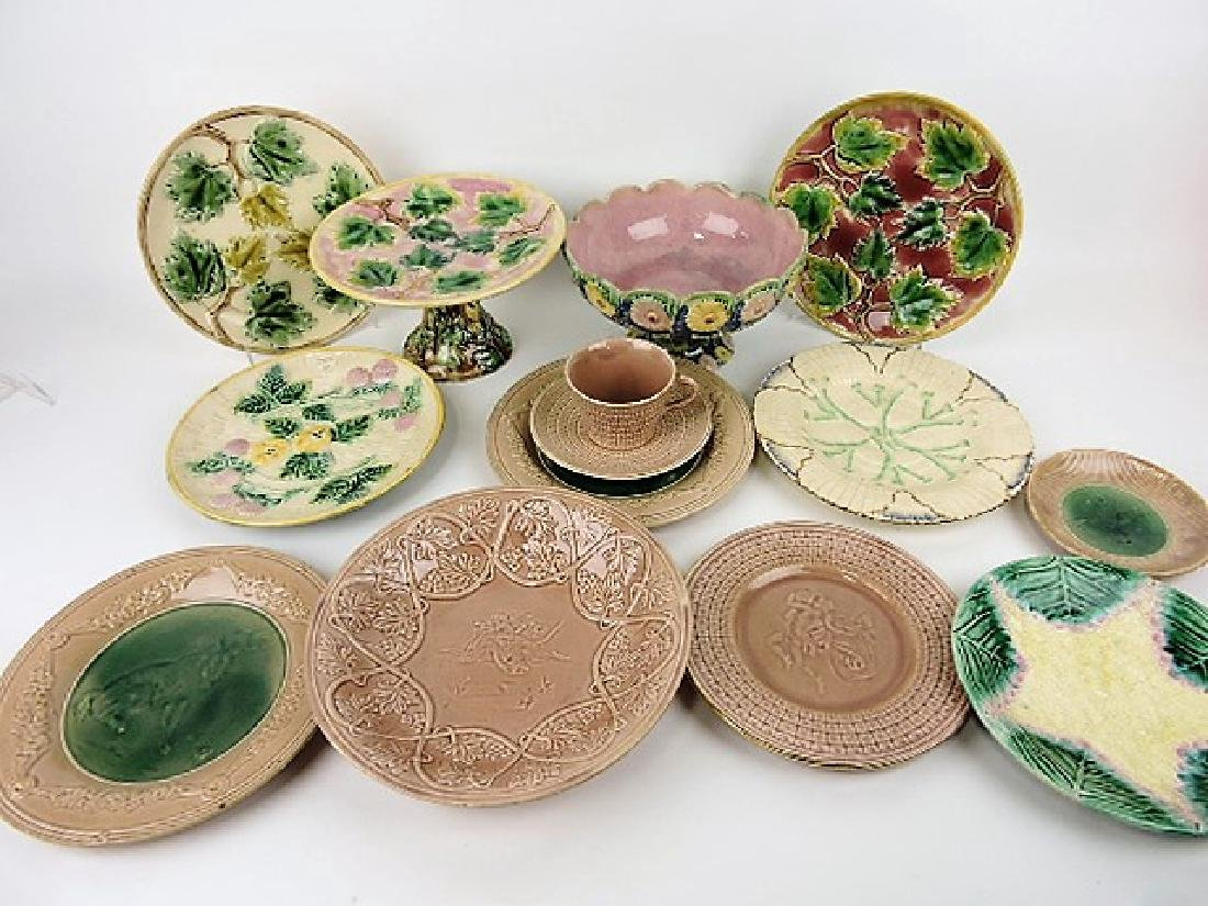 Etruscan majolica  lot of 13 compotes and plates,