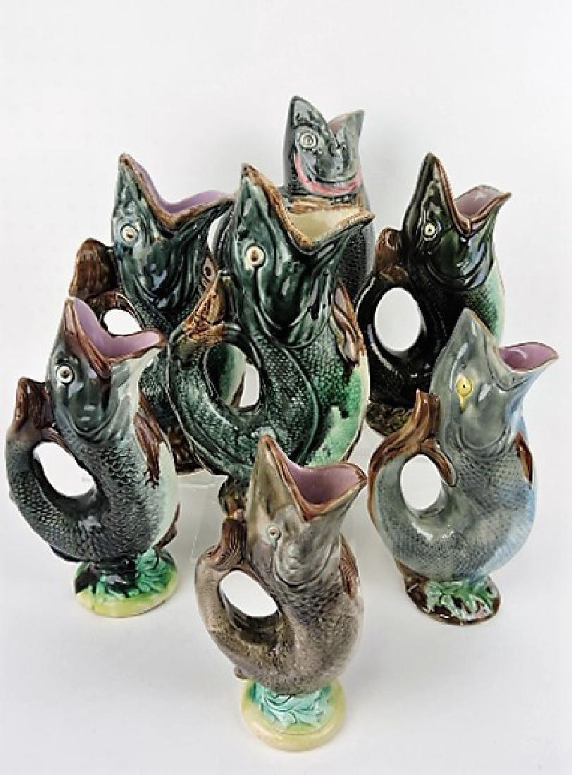 Majolica lot of 7 gurgling fish pitchers