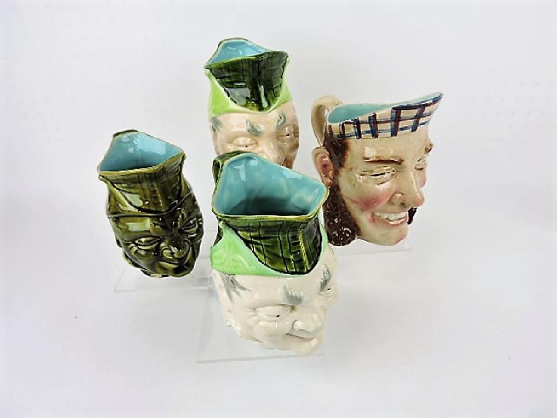 Sarreguemines majolica lot of 4 face jugs, various