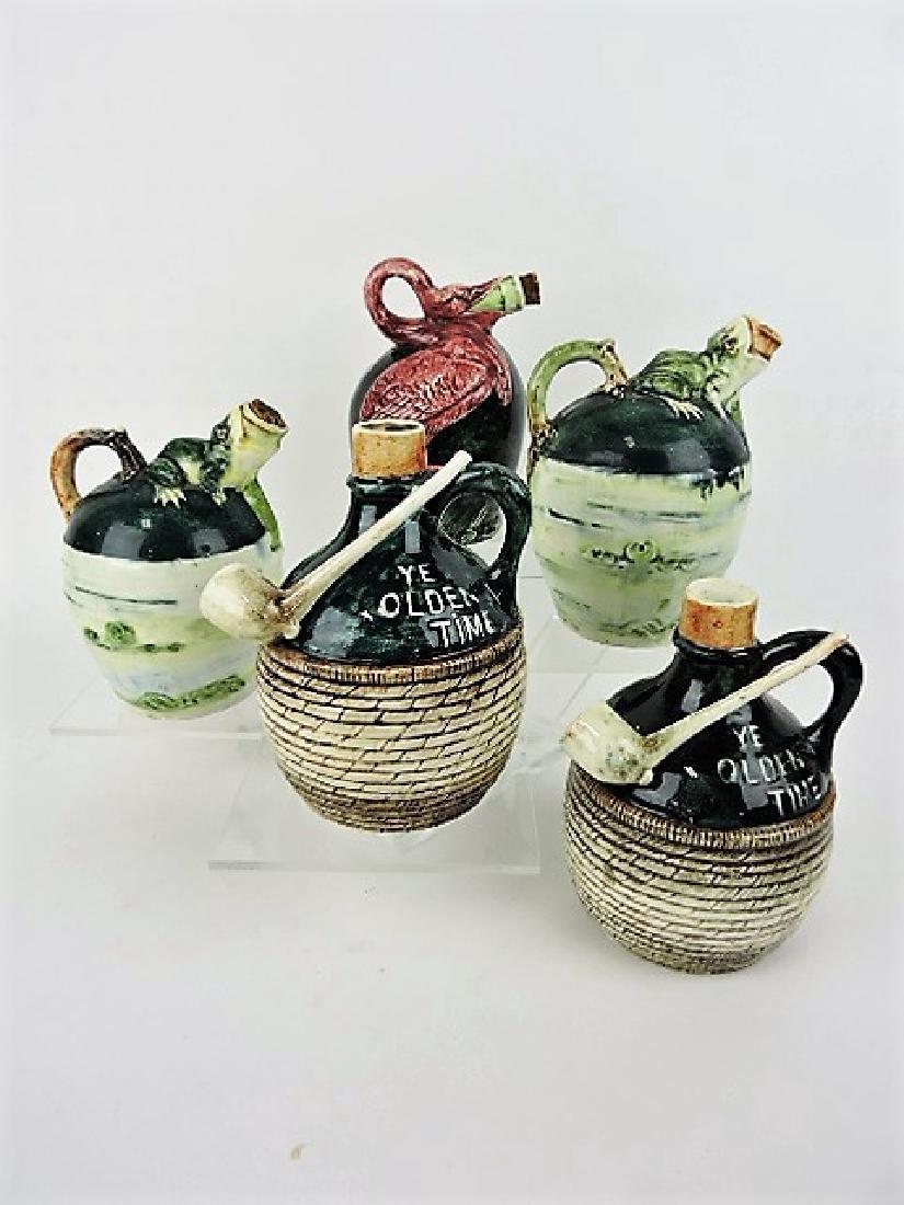 Majolica lot of 5 jugs - 2 frogs & 1 pelican