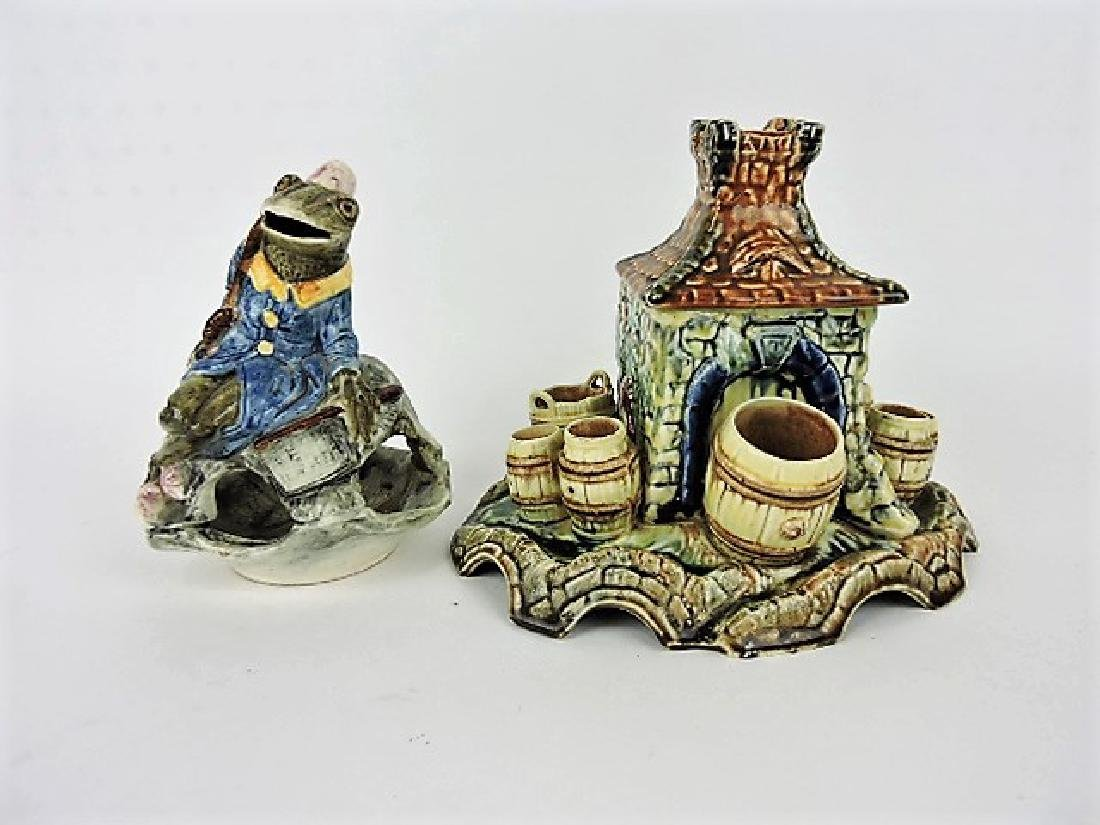Majolica frog incense burner and figural match