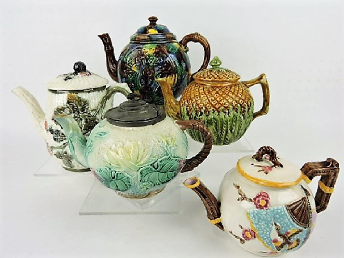 Majolica lot of 5 teapots, various condition
