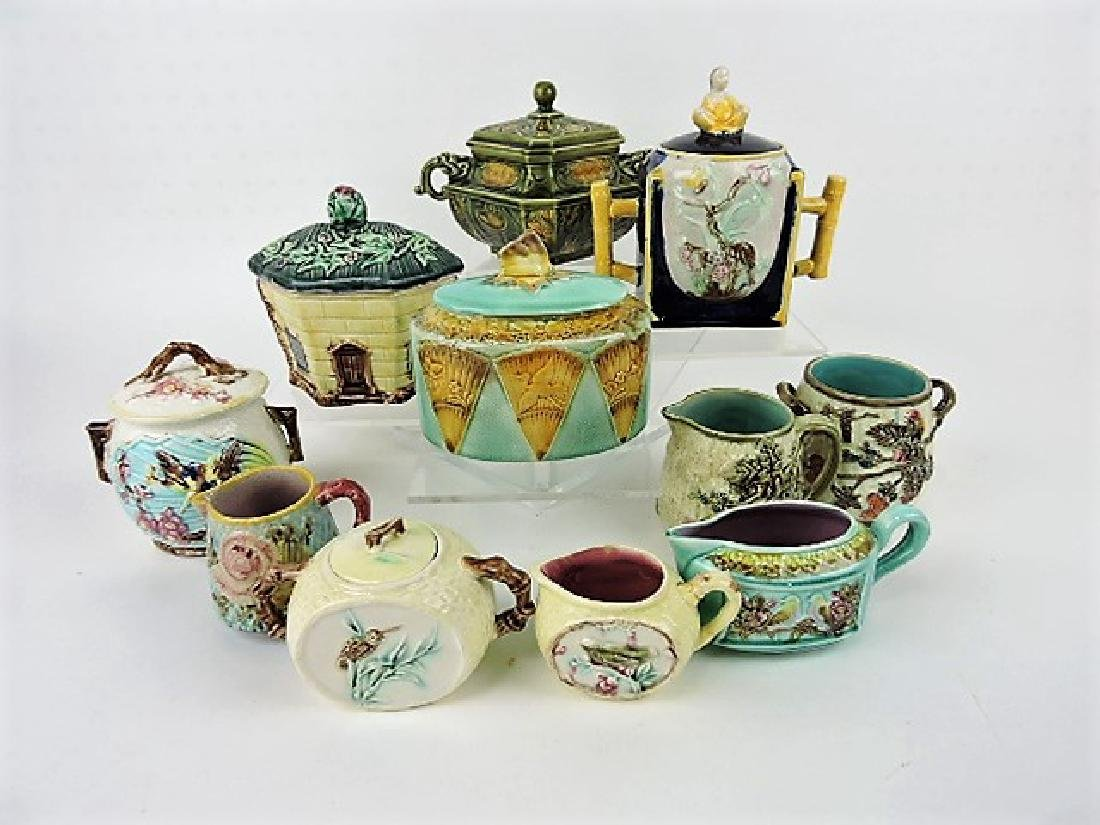 Majolica lot of 11 sugars & creamers, various