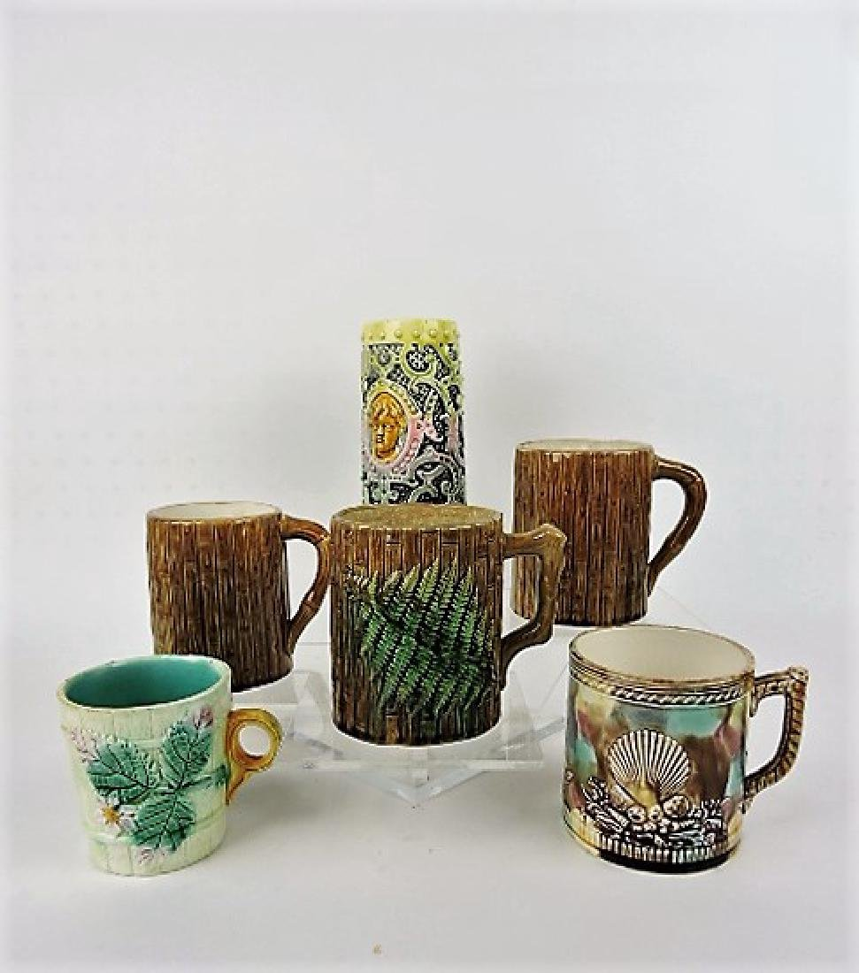Majolica lot of 6 mugs, 3 with frogs inside,