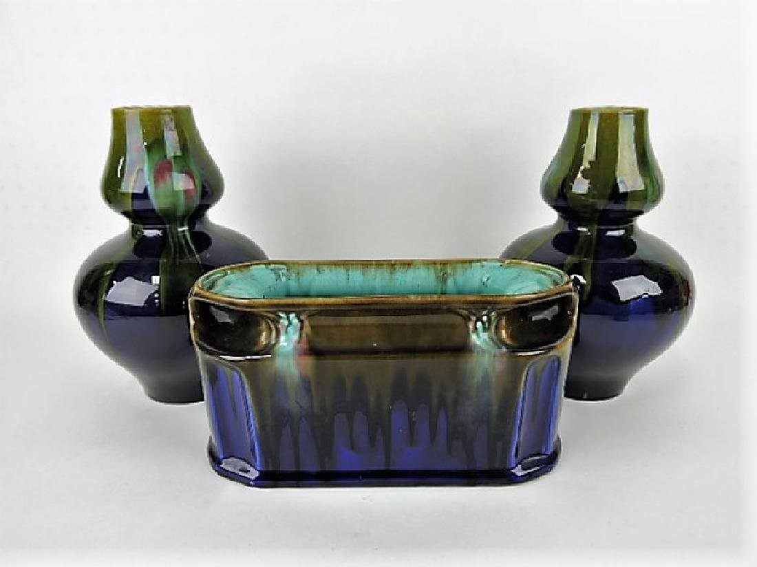 "Majolica 3 pc garniture, vases 11""h, planter"