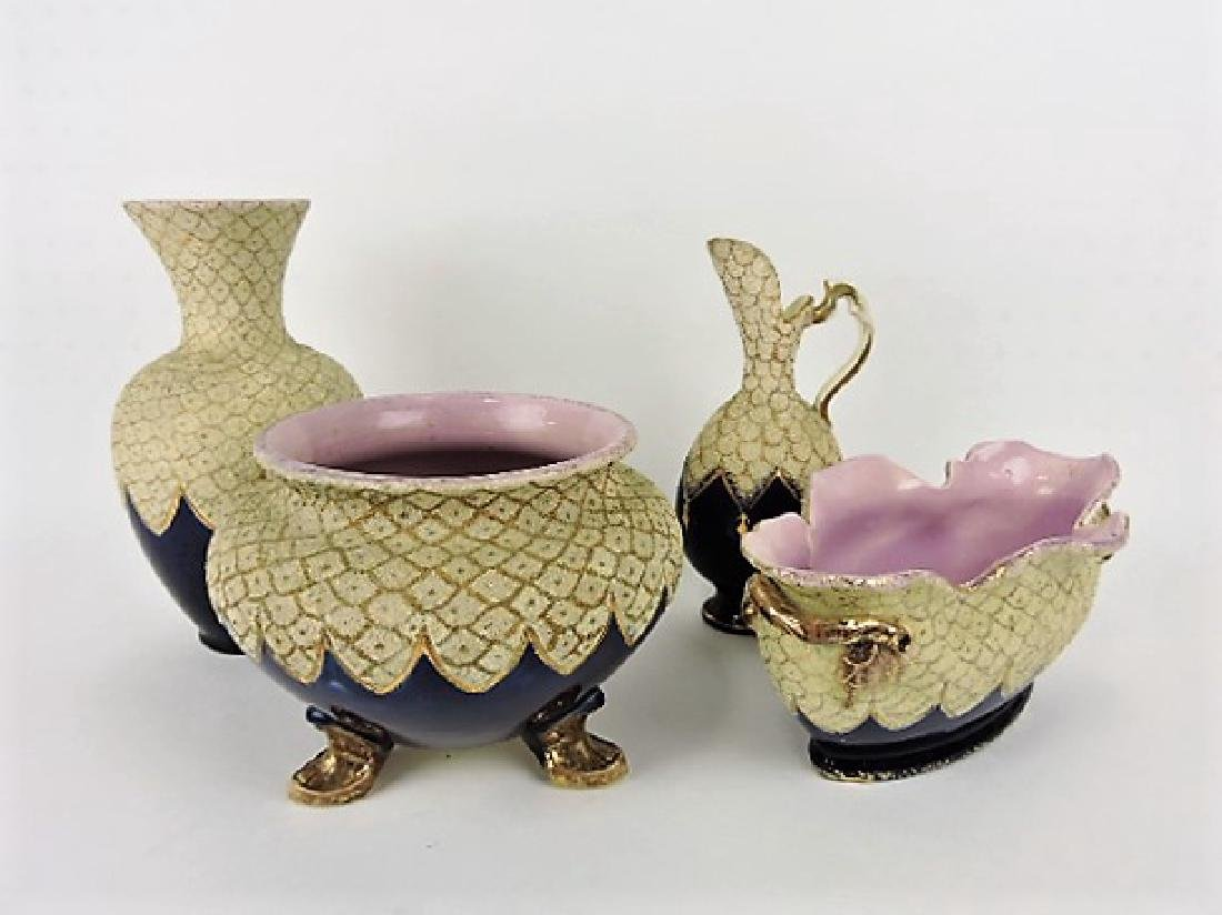 Forrester lot of 4 majolica vases and planters,
