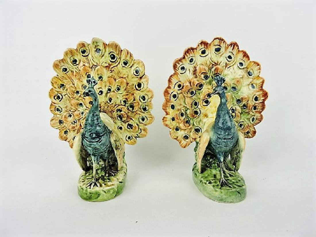 "Continental majolica pair of peacock vases, 8 1/2"""