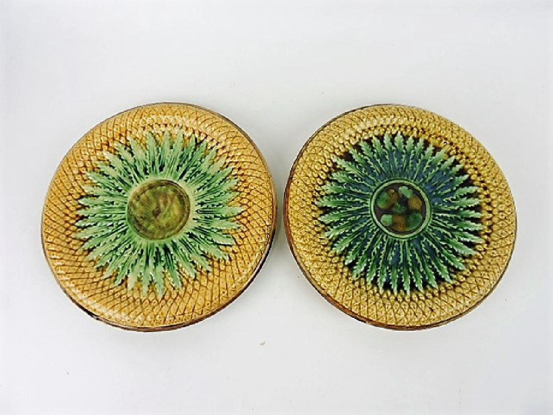 """Majolica pair of pineapple footed round trays, 11"""""""
