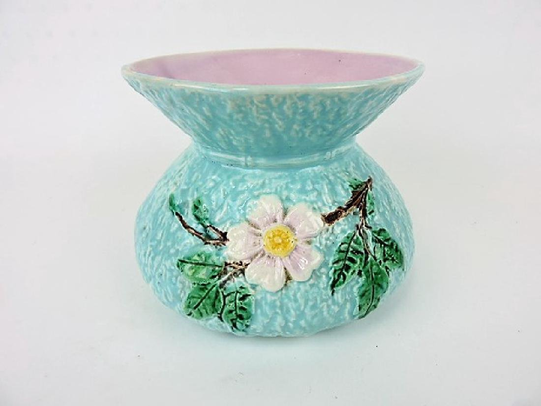 Majolica turquoise floral spittoon