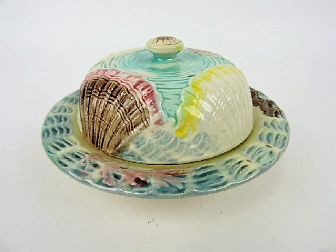 Majolica shells and waves butter dish