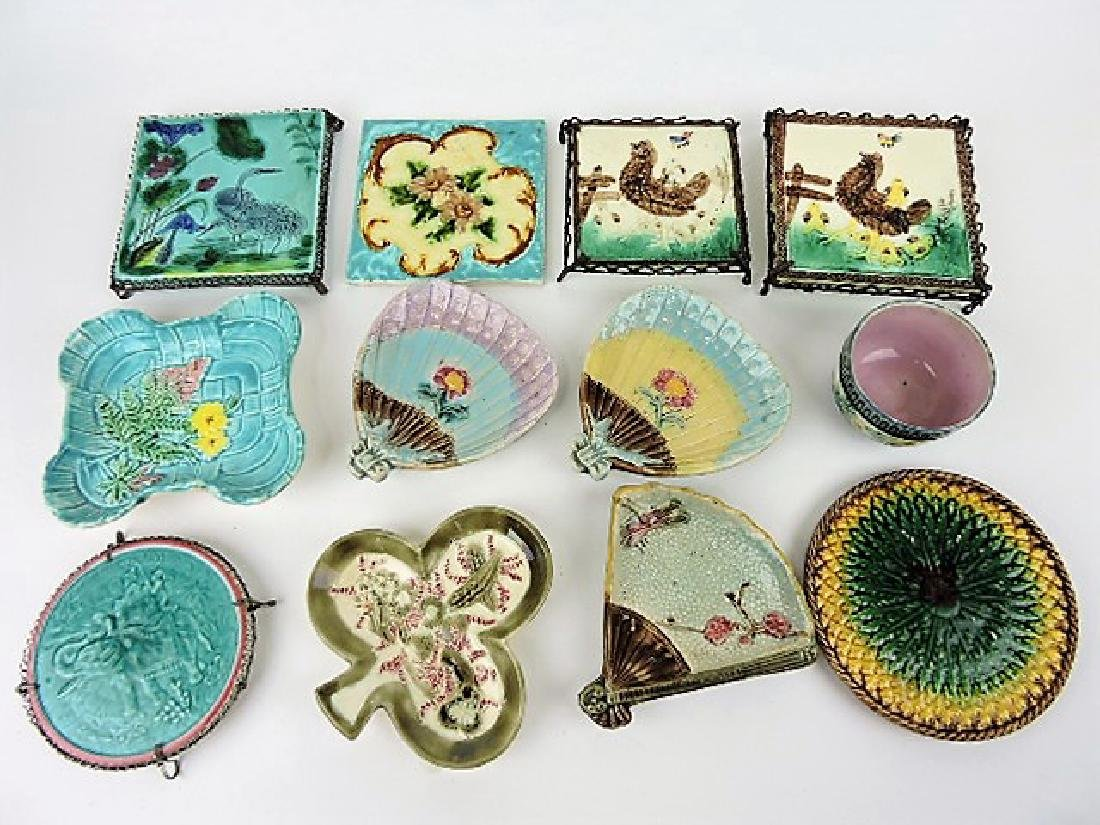Majolica lot of 12 tiles, trivets, and trays,