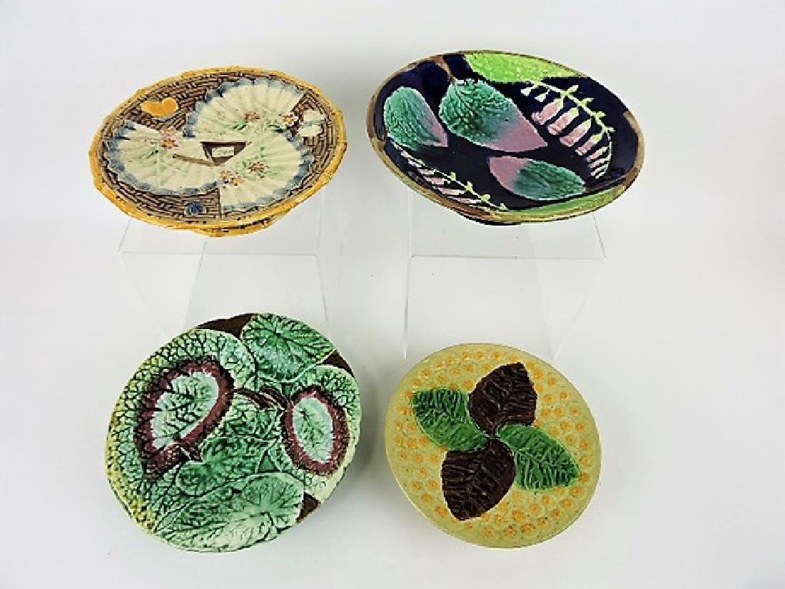 Majolica lot of 4 compotes, various condition