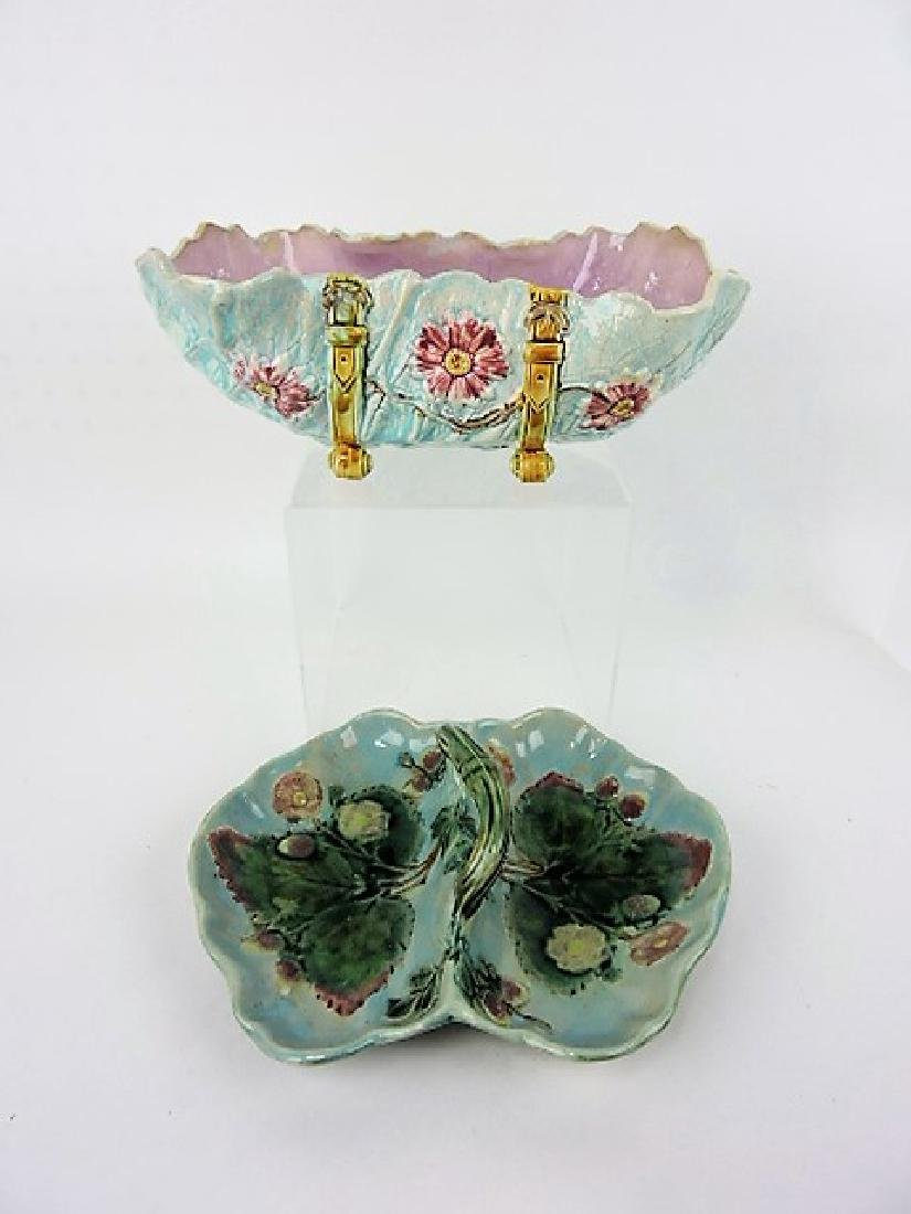 Majolica bowl and strawberry basket, various