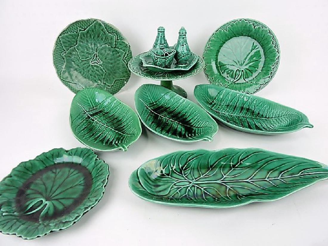 Majolica dark green lot of plates, trays, compote