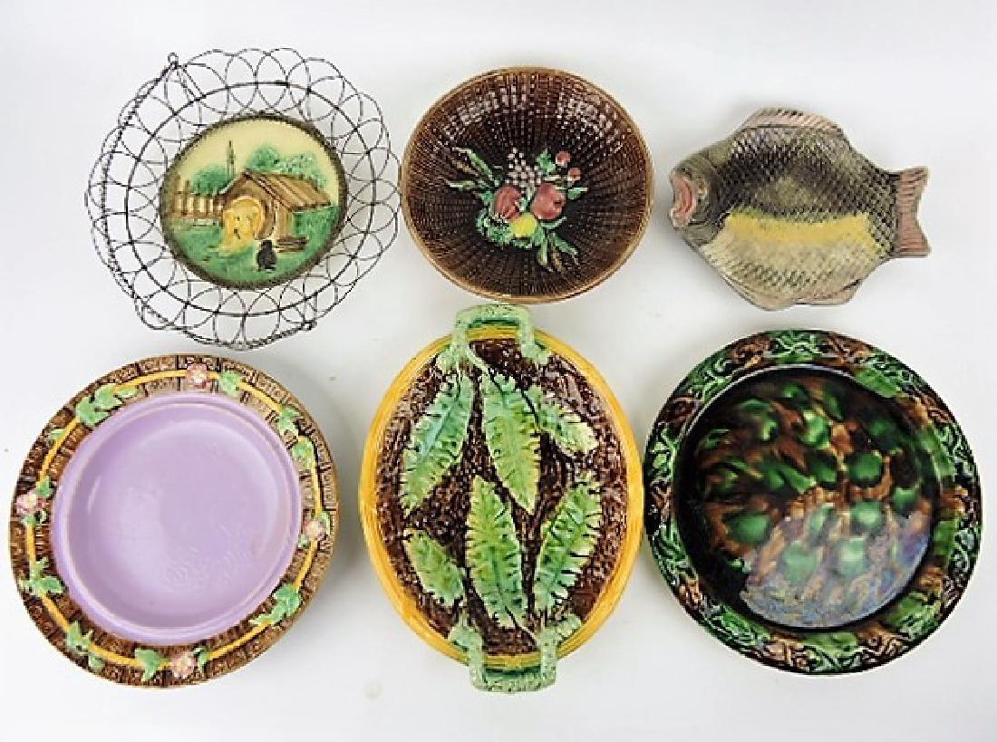 Majolica lot of 6 platters, plates & trays,