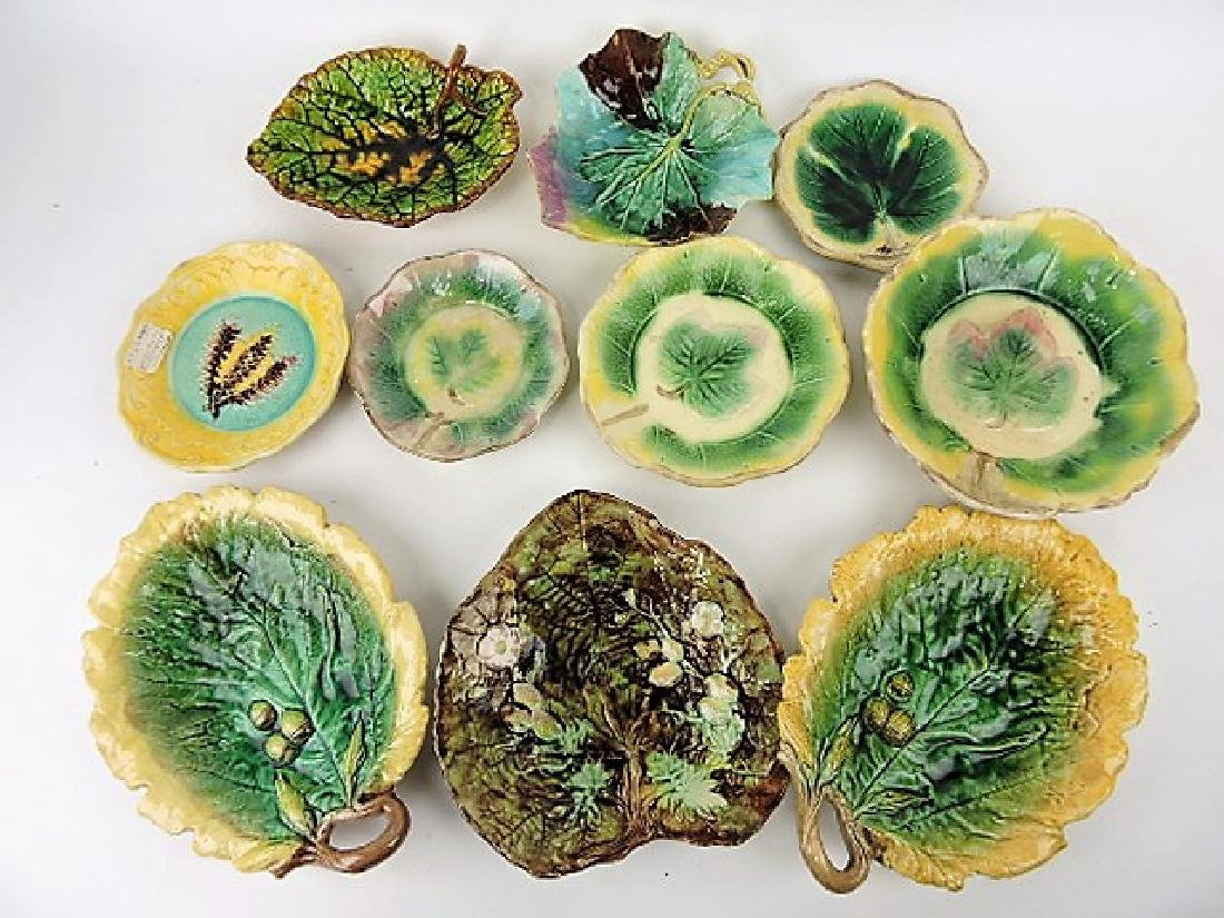 Majolica lot of 10 leaf trays, various condition