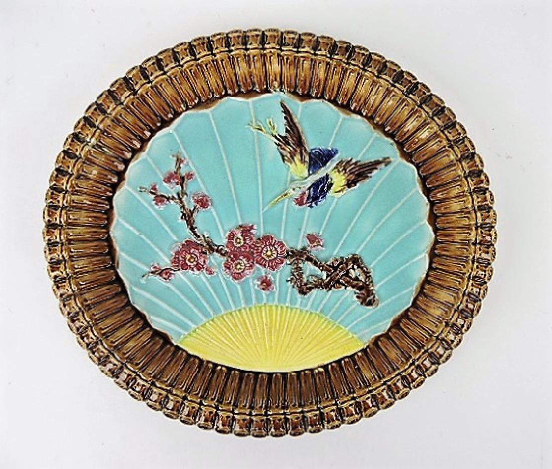 "Majolica Wardle bird and fan platter 12 1/2"""