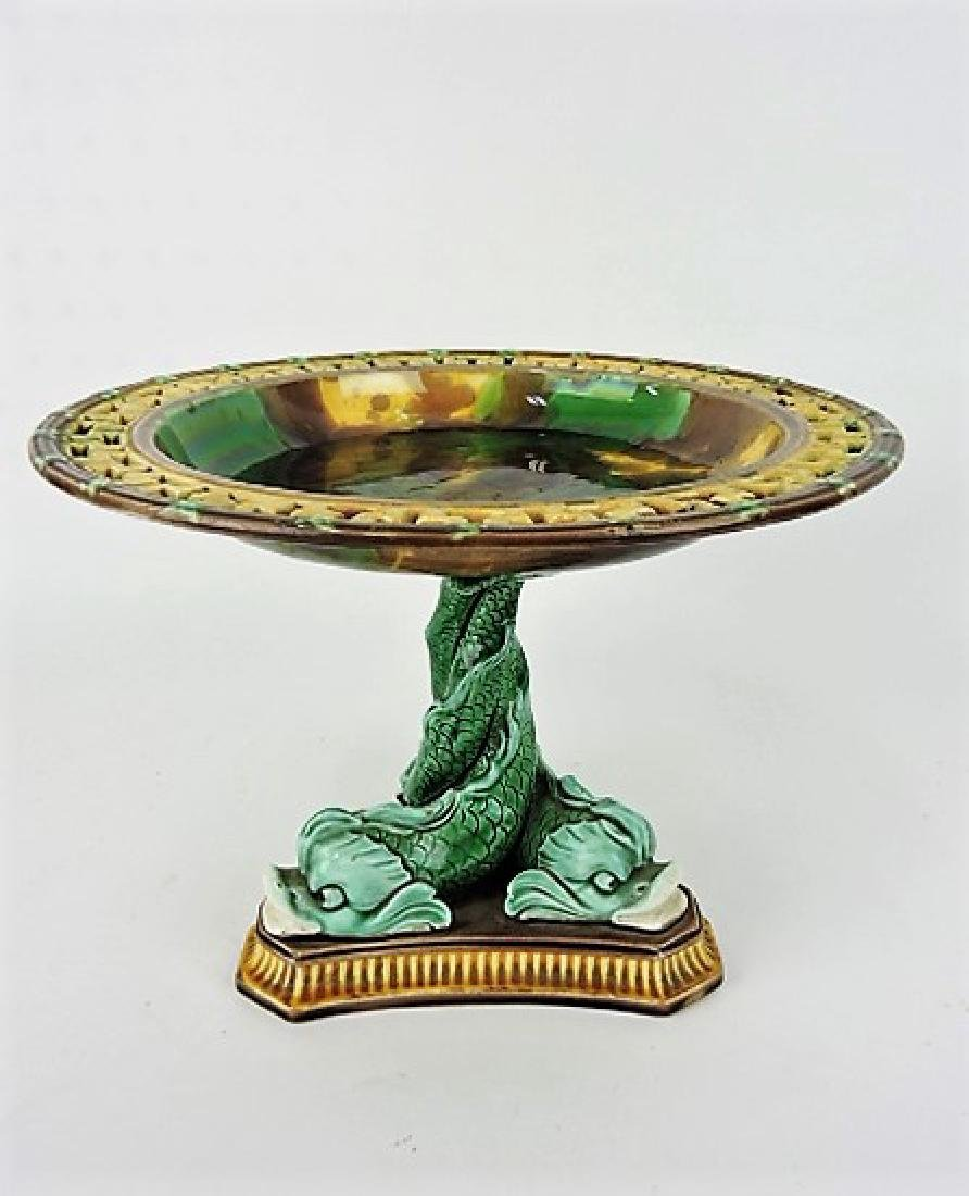 Majolica Wedgwood dolphin compote with