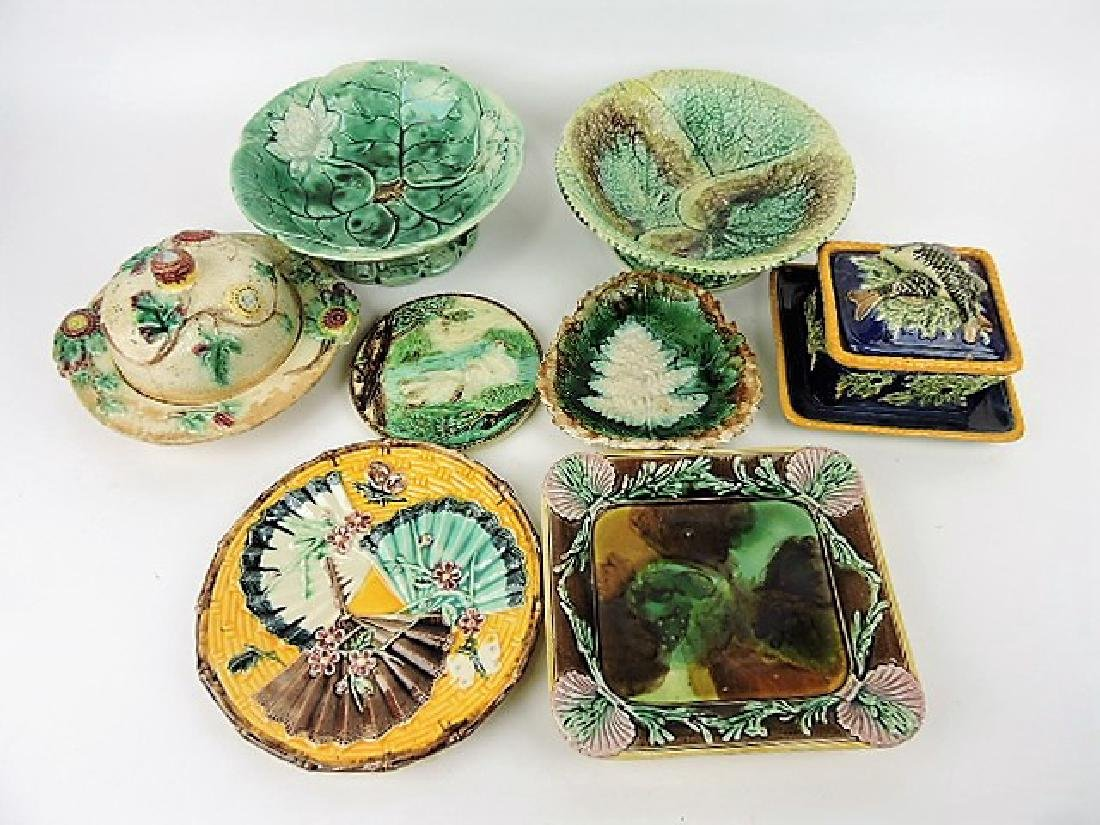 Majolica lot of 8 assorted items