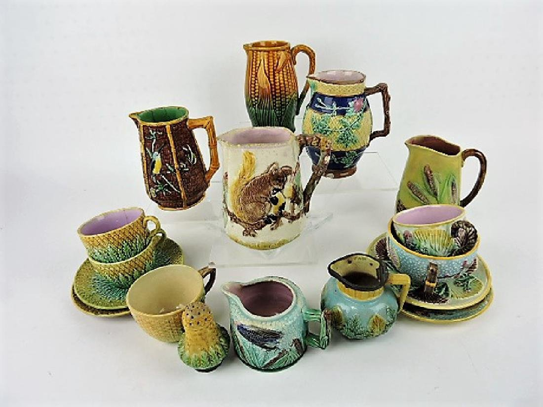 Majolica lot of 13 assorted items