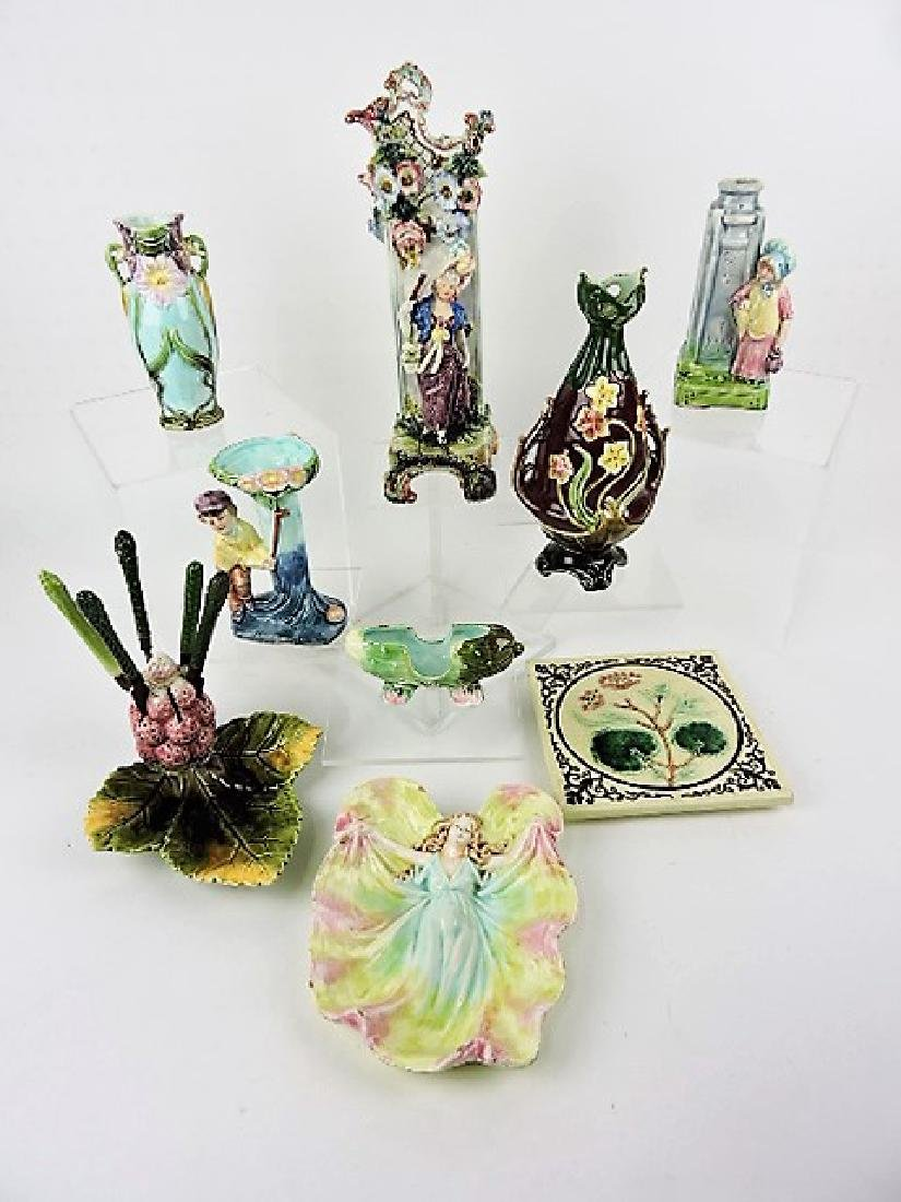 Majolica lot of 9 assorted vases and other items,