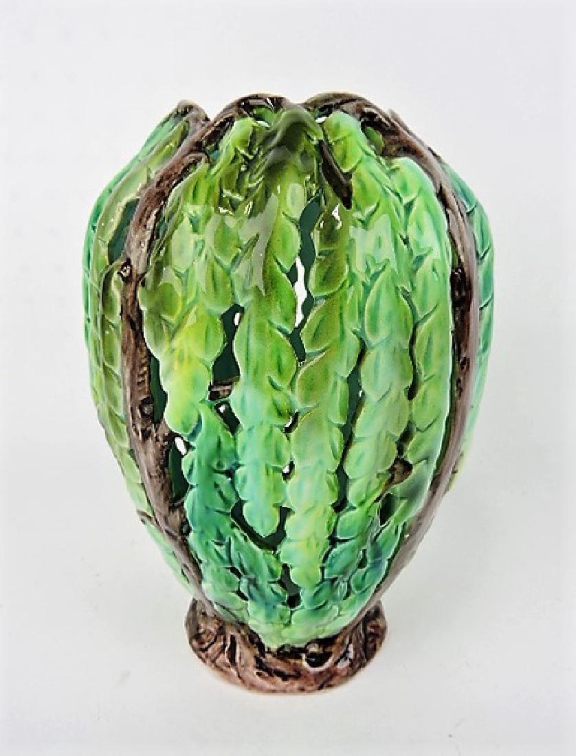 "Majolica pierced leaf lamp shade 9 1/2"""