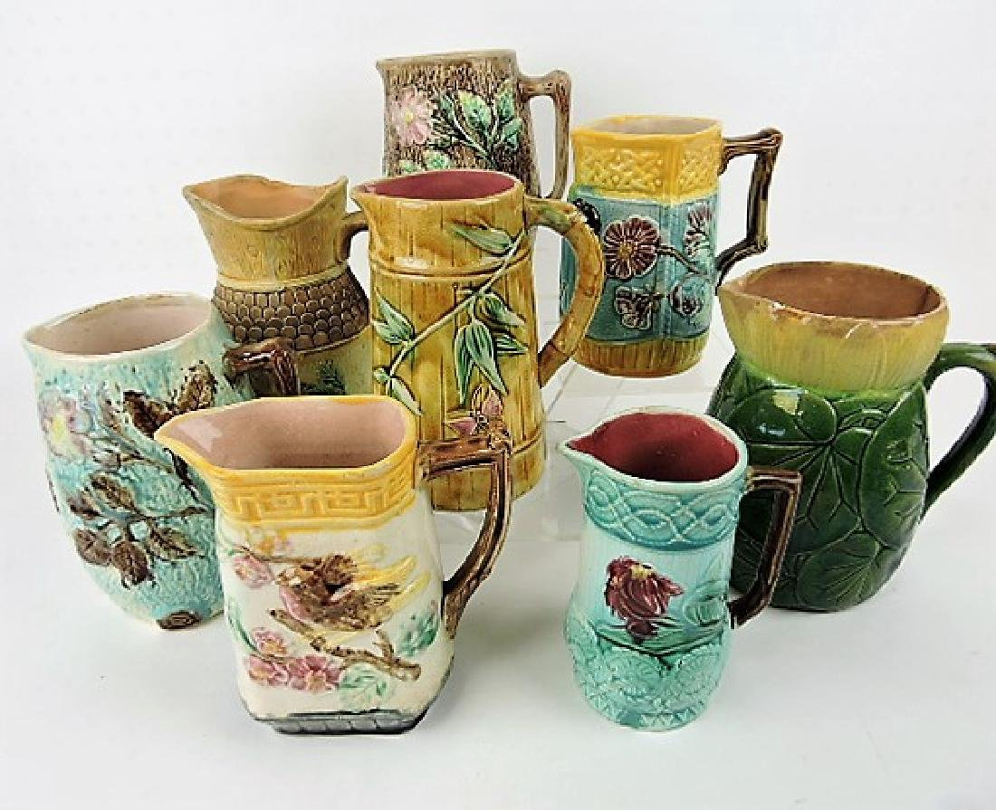 Majolica lot of 8 pitchers various condition