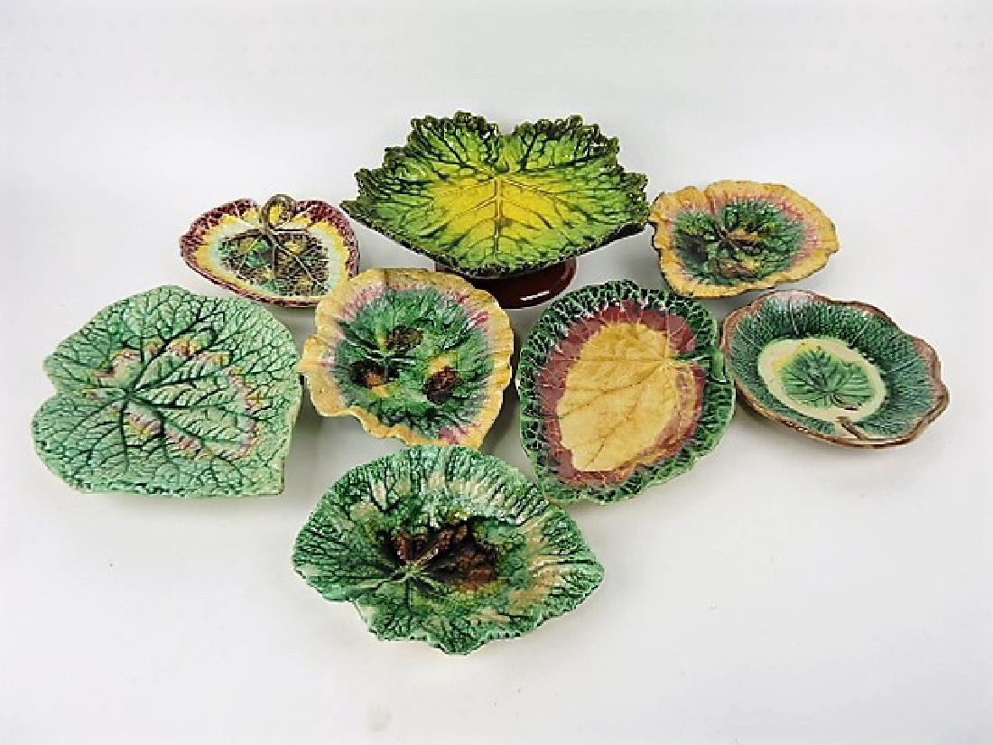 Majolica lot of 8 leaf trays various condition