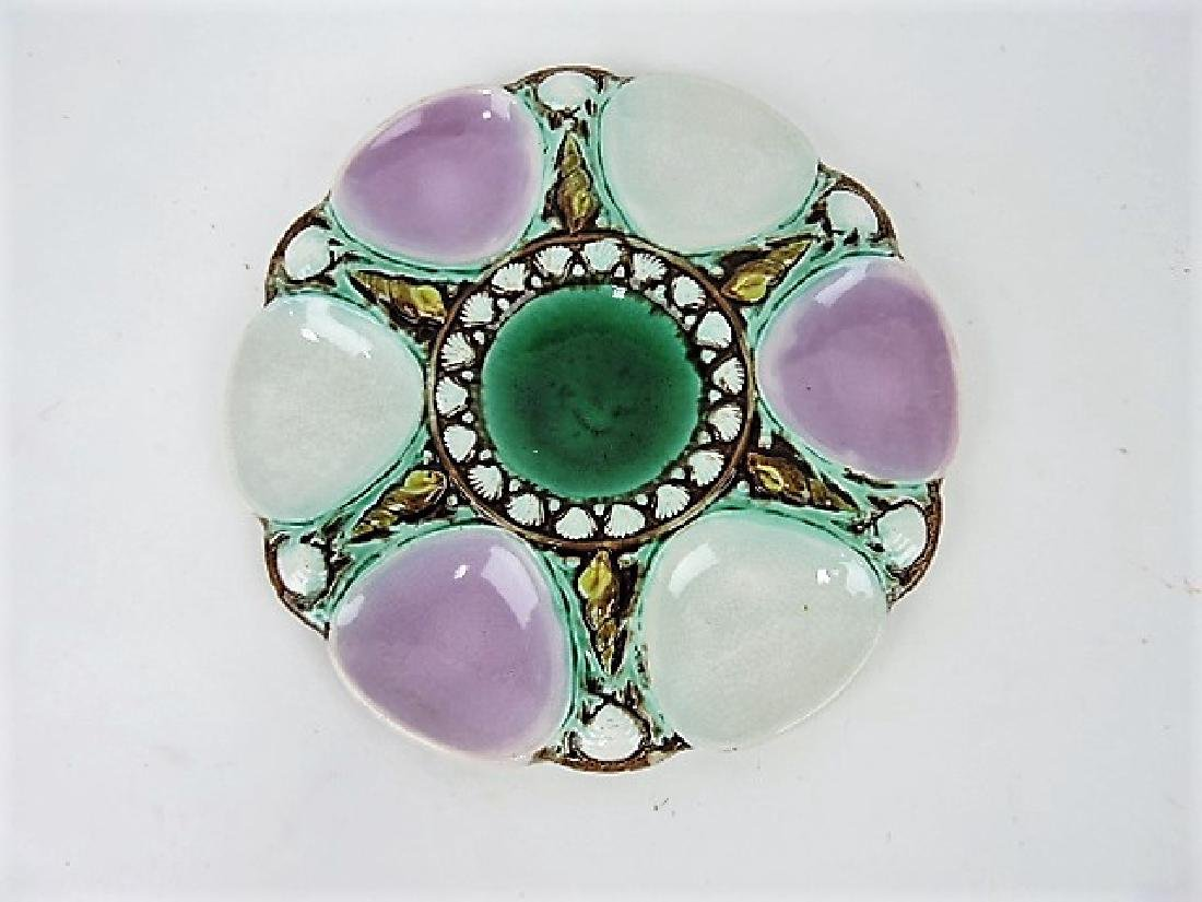 "Majolica 9"" oyster plate with alternating pink &"