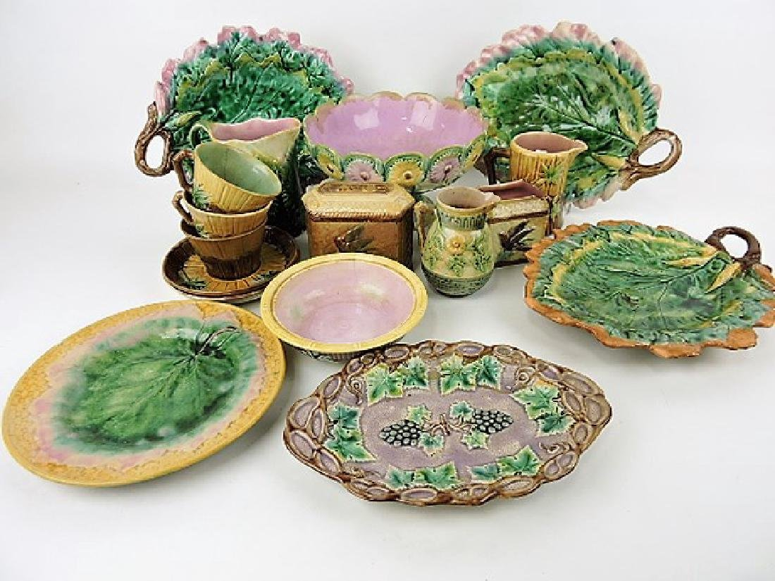 Etruscan majolica lot of 15 pcs various condition