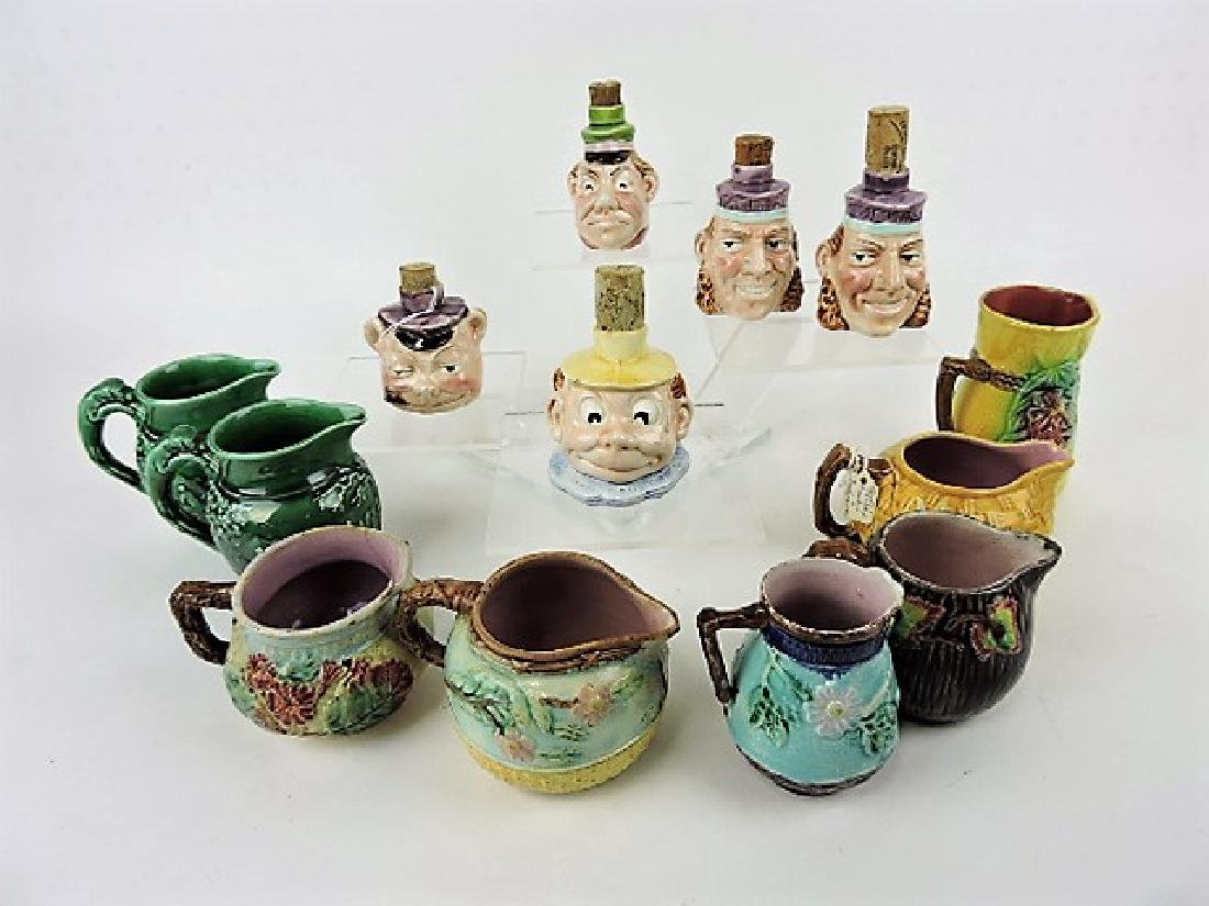 Majolica lot of 5 small face bottles and 8