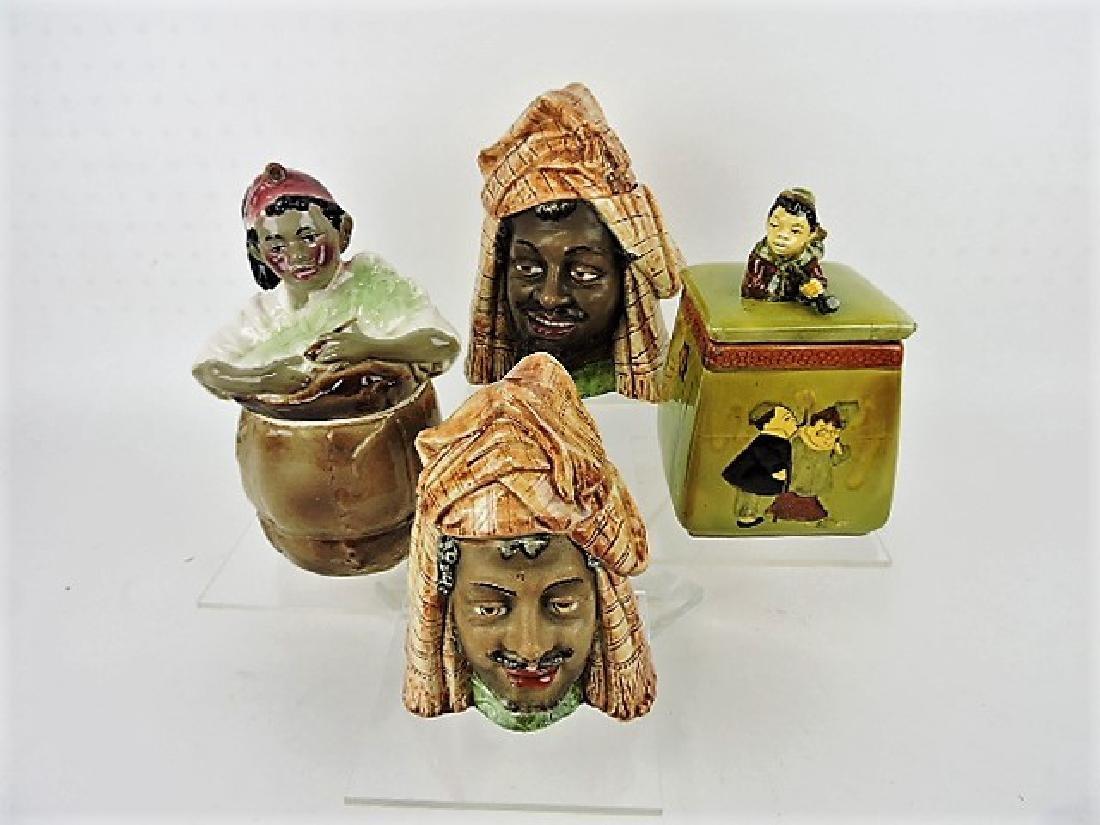 Majolica lot of 4 Blackamoor humidors
