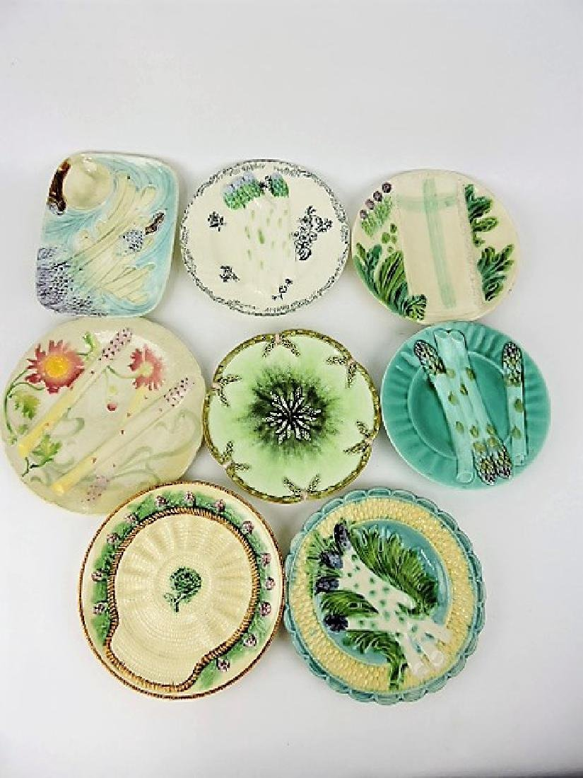 Majolica lot of 8 asparagus plates, various