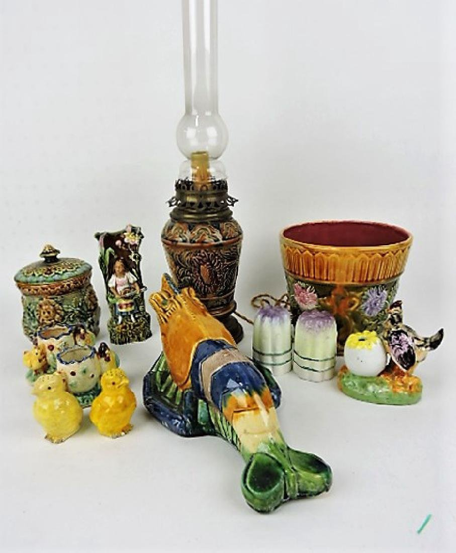 Majolica and non majolica lot of 10 assorted items