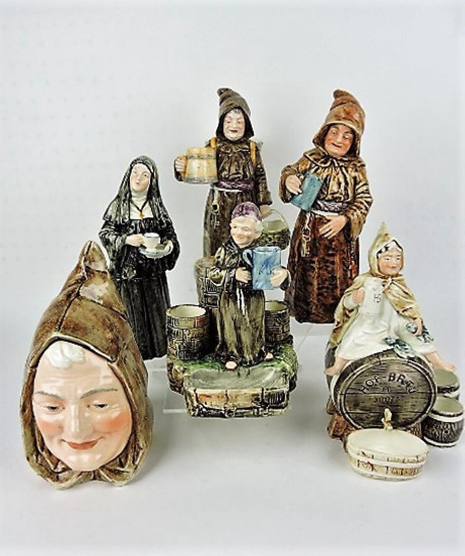 Majolica lot of 6 monk and nun figural match