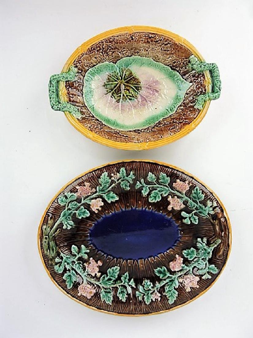Majolica lot of 2 platters various condition
