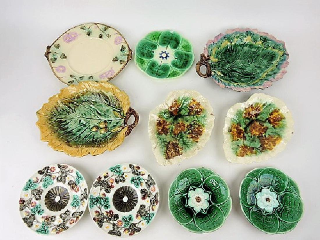 Majolica lot of  10 plates and trays