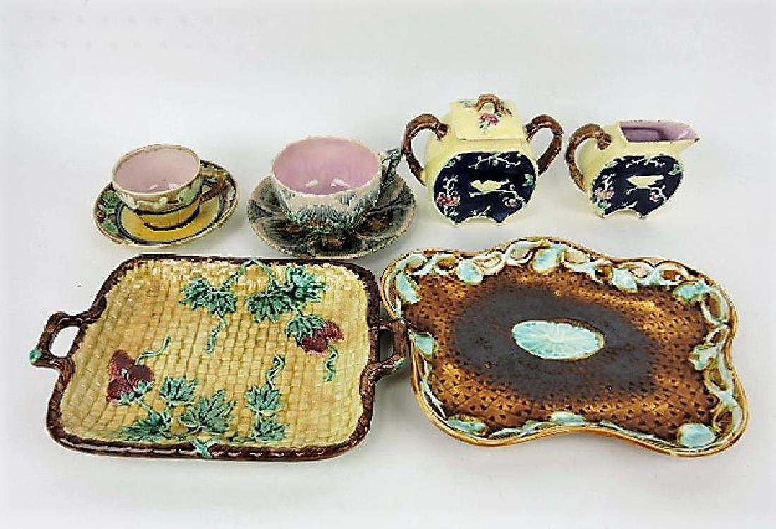 Majolica lot of  6 assorted items