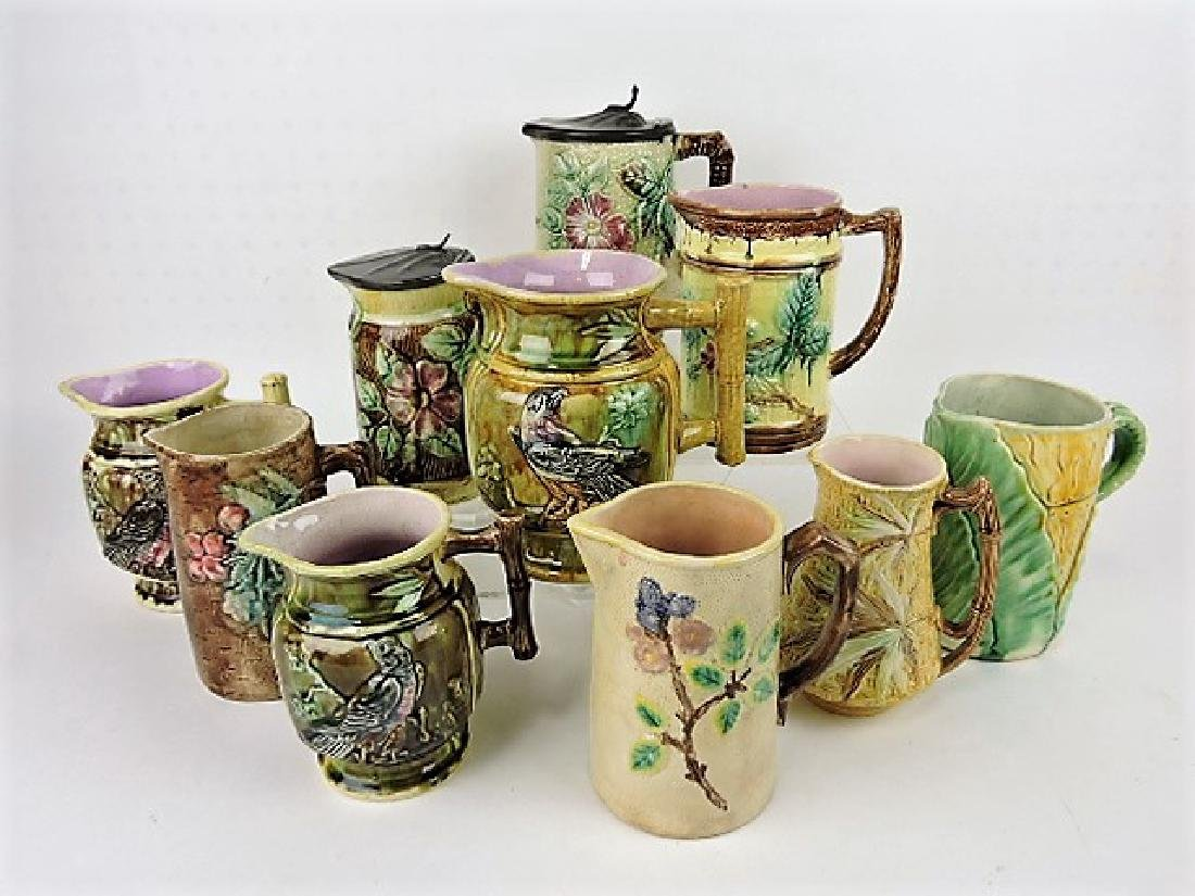 Majolica lot of  10 pitchers, various condition