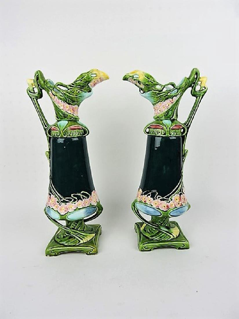 Majolica pair of ewers, 14 1/2""