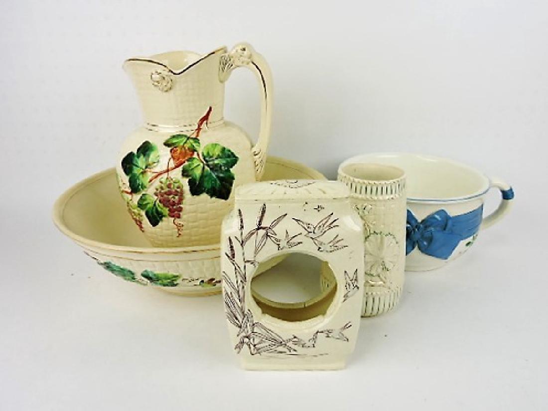 Avalon majolica group - pitcher & bowl, clock case