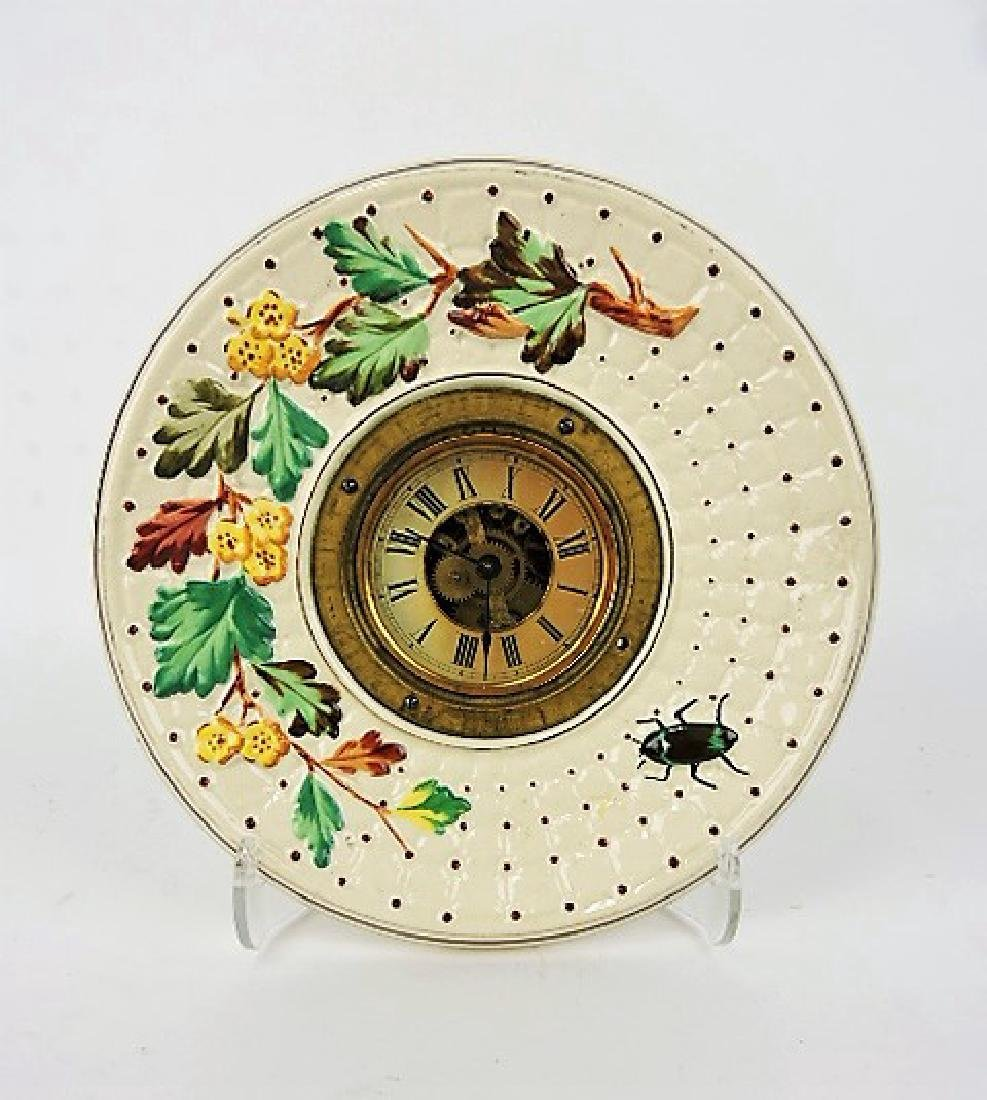 Avalon majolica plate clock with beetle