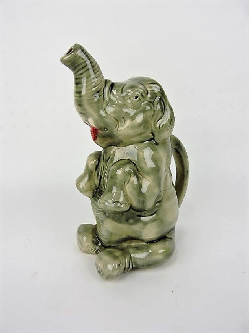 French majolica elephant pitcher 9""