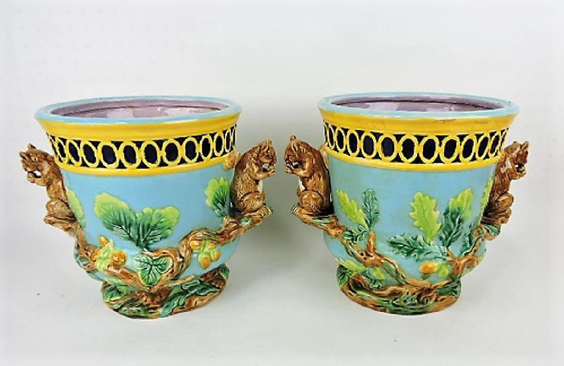 Contemporary pair of squirrel handled jardinières