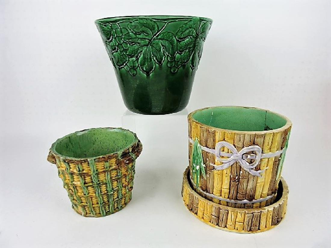 Majolica lot of  3 jardinières, various condition