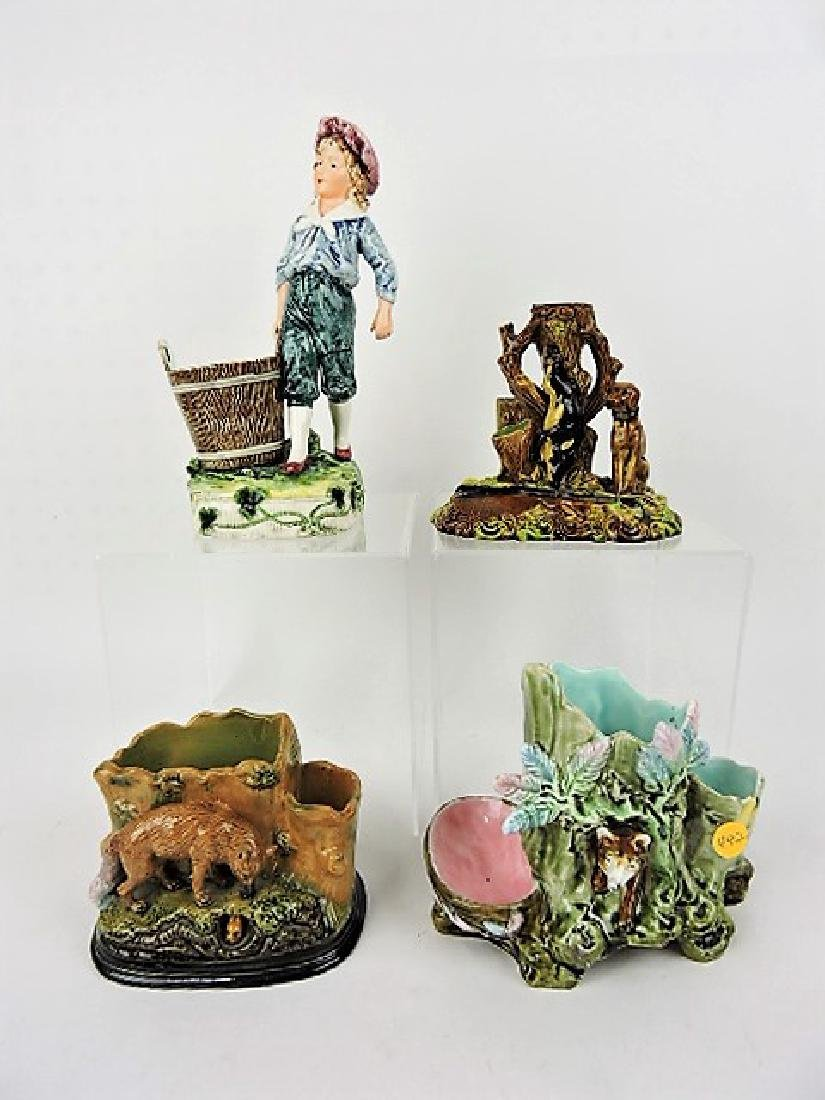 Majolica lot of  4 figural match strikers, various