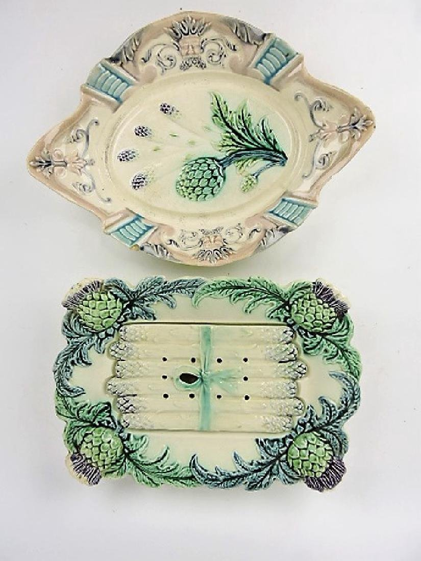 Majolica asparagus lot of 2 trays, various