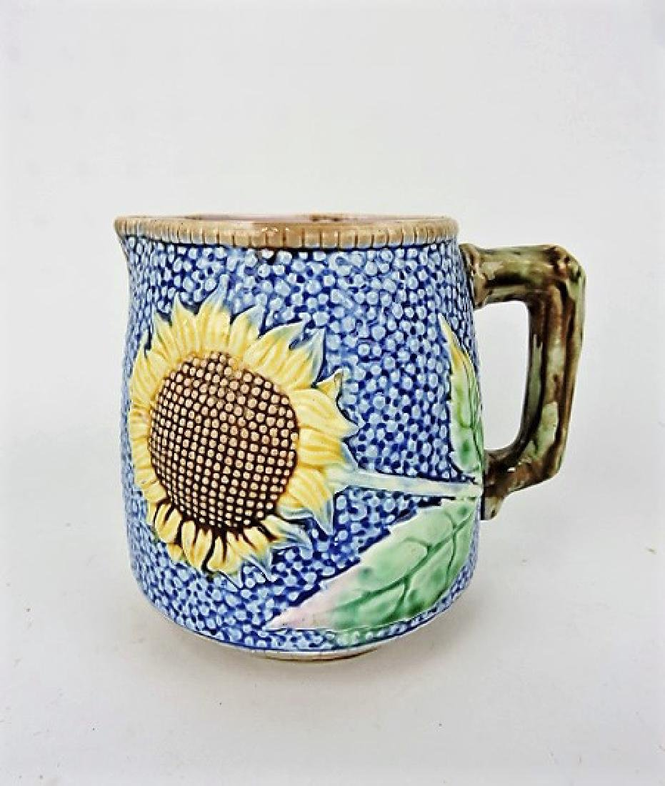 "Etruscan majolica cobalt sunflower pitcher, 5"","